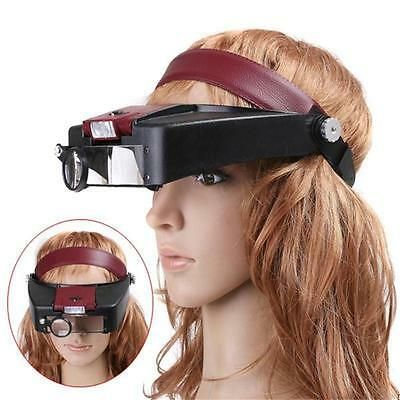 10X Power Headband Visor Magnifier LED Lighted Magnifying Loupe Jewelry repair W