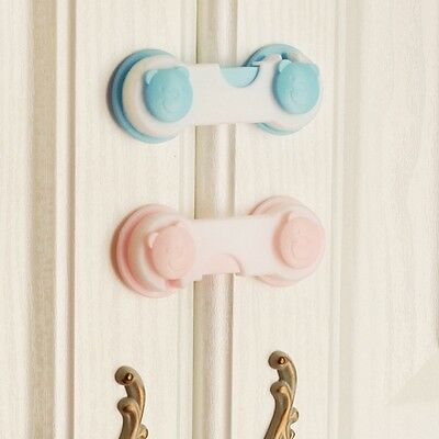 4Pcs Baby Kids Drawer Cupboard Cabinet Bear Fridge Safety Lock Wardrobe Door Box