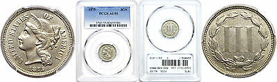 1875 Nickel Three Cent Piece PCGS AU-55