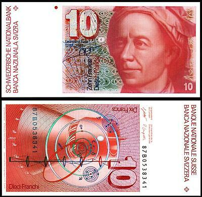 Switzerland Swiss 10 Francs / Franken 1987 Unc P.53G Sign 58