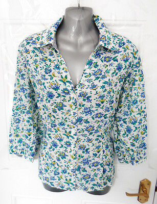 ❤ EAST Gorgeous Size 12 White Blue Green Yellow Button Up Shirt Blouse Top