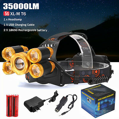 50000Lumens 5x XM-L T6 LED Rechargeable Headlamp Head Light Zoom Torch+2x 18650
