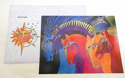 Laurel Burch Wild Horses of Fire Blank Your Message Greeting Note Card Cards