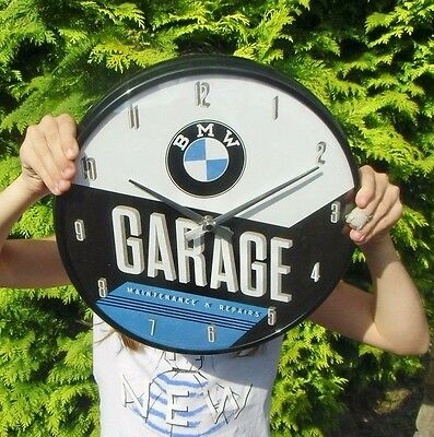 German BMW Garage WALL CLOCK - Metal /Glas - Licensed item - NEW in Box