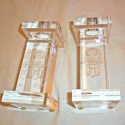 shabbat candle holders, laser etched glass, Chamsa hand