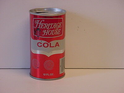 Vintage Heritage House Cola Straight Steel Pull Tab Top Opened Soda Can