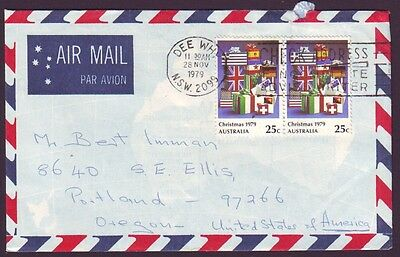 1979 COMMERCIAL COVER WITH 25c CHRISTMAS PAIR - CONTEMPORARY USE & USA ADDRESSEE