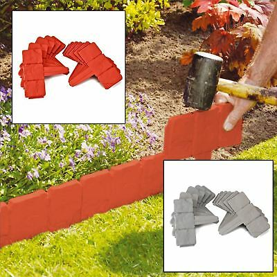 Garden Edging Cobbled Stone Effect Plastic Plant Hammer-In Lawn Tree Border New