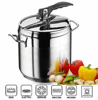 9 Litre Stainless Steel ANETT Pressure Cooker Deep Stockpot Induction Base