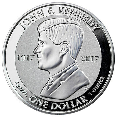 2017 British Virgin Islands John F Kennedy 1 oz Silver Reverse Proof $1 SKU47005