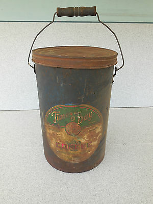 Rare Antique Time O Day 5 Pound Metal / Tin Coffee Can / Prompt Shipping