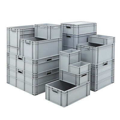 Plastic Stacking Industrial Euro Storage Containers Boxes Crate 16 Sizes Blue