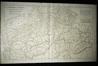 1803 Map by Henri Mallet: La Repubblica Elvetica or Republic of Switzerland. 30.