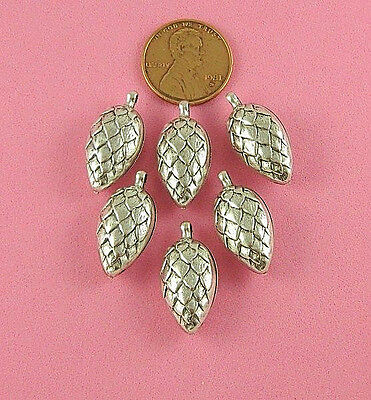 Vintage Design Silver Plated Brass 3-D Pine Cone Drop - 1 Pc