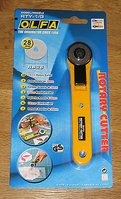 OLFA 28mm Rotary Cutter RTY-1/G Sewing Quilt cuts Fabric Leather Paper *NEW*