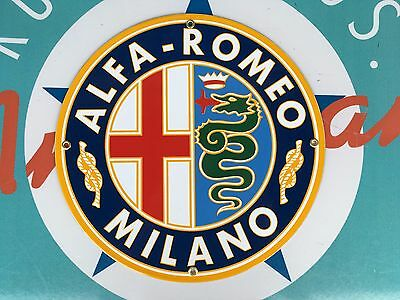 top quality ALFA ROMEO milano, ITALY porcelain coated 18 GAUGE steel SIGN