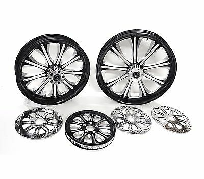 "Dna ""envy"" Black Billet Wheel Set 21 & 18 Rotors & Pulley Harley Touring Flh"