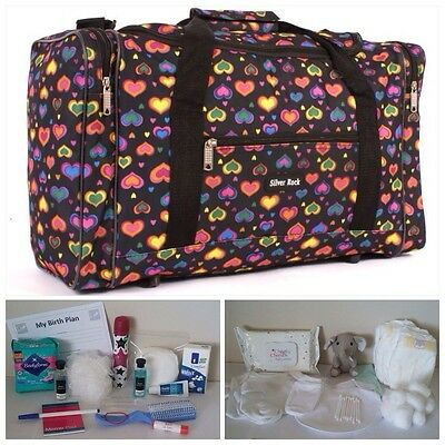 BUDGET Pre-packed Black Heart Maternity Hospital Labour Bag Mum & Baby (unisex)