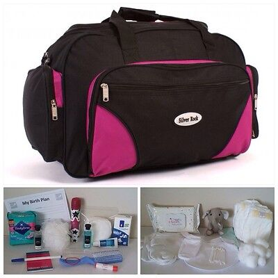 """BUDGET Pre-packed Black/Pink Maternity 22"""" Hospital Bag for Mum & Baby (unisex)"""