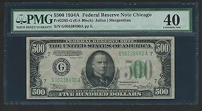 1934A $500 Five Hundred Dollar Bill Currency Cash Note Money PMG EF 40