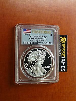 2017 S Proof Silver Eagle Pcgs Pr70 Dcam Flag First Day Issue Fdoi First Strike