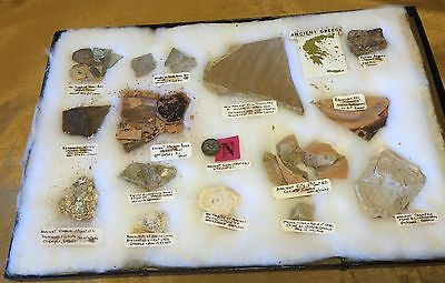 Antique Ancient Greek Pottery Shards/Display Case w Exact Location Sites Labeled