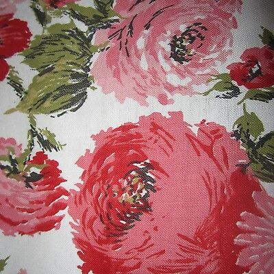 50cm AMAZING PINK ROSES VINTAGE COTTON CANVAS FABRIC 1950S CURTAIN UPHOLSTERY