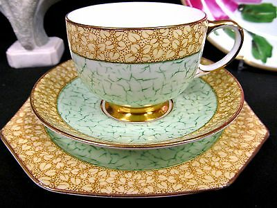 Paragon Tea Cup And Saucer Trio Chintz Green * Cream  Teacup Pattern