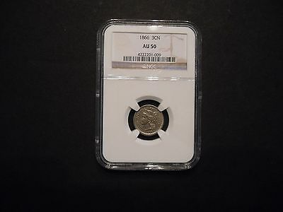 1866 3cn Three Cent Nickel NGC AU 50