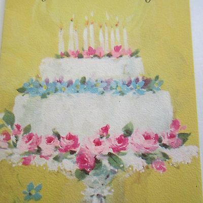 Tiny Yellow Birthday Cake Card 4 Fold Sands 1950S As New Greeting Gift Pretty