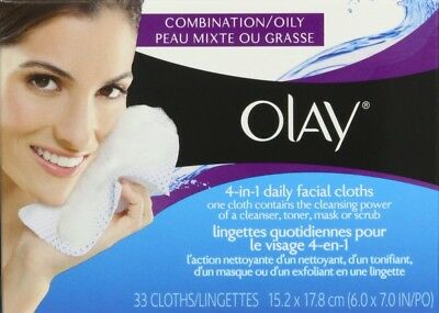 Olay 4-In-1 Daily Facial Cloths, Combination/Oily Skin 33 Count