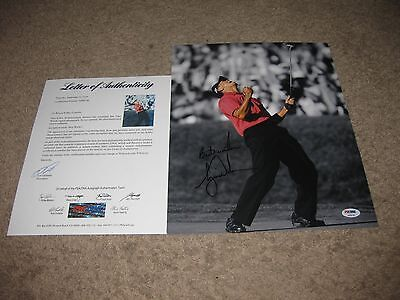 G.O.A.T. 4x Master Winner Tiger Woods signed 11x14 Photo PSA DNA