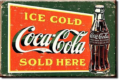 ICE COLD COCA - COLA SOLD HERE  2 X 3 Inch Miniature Sign Magnet COKE