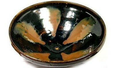 Song China Style Antique 19thC Black Rust Glazed Oil Spot Hare Fur Ceramic Bowl