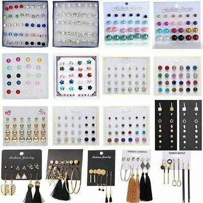 24 Pairs Fashion Women Earrings Set Rhinestone Crystal Pearl  Ear Stud Jewelry