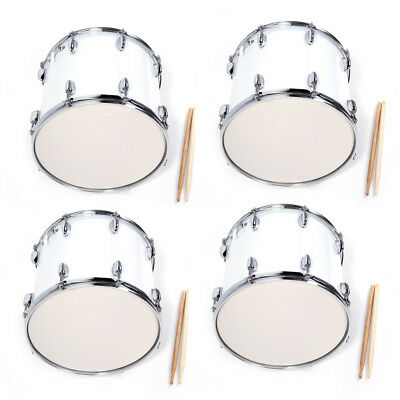 4 x Stainless Steel & Wood Marching Snare Drum Percussion Poplar Silver