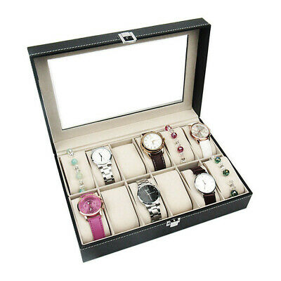 New 12 Grids Watch Display Case Leather Box Jewelry Collection Storage Organizer