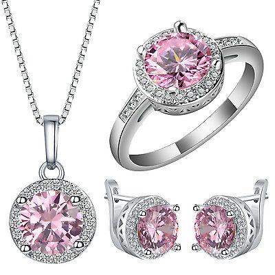 Women Fashion Silver Pink Sapphire Ring Necklace Earrings Wedding Jewelry Sets