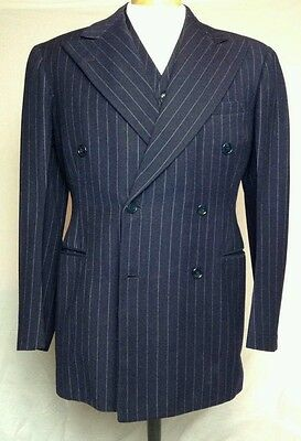 Vintage Mens 1939 Navy Blue Chalkstripe Double Breasted 3 piece suit Murray's