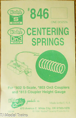Kadee #846 Centering Springs (12 in pkg) for:#802 S Scale & #803 On3 & 813 Coupl