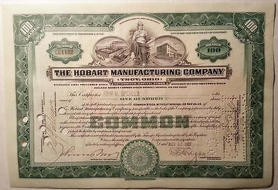 The Hobart Manufacturing Co. Troy, Ohio Common Stock 100 Shares Green 1927