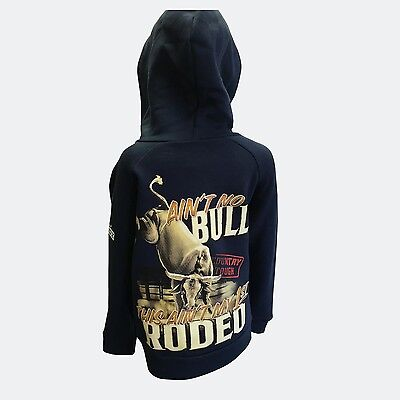 Boys Kids Navy Blue Aint No Bull Zip Up Hoodie Riding Rodeo Cowboy Outback Winte
