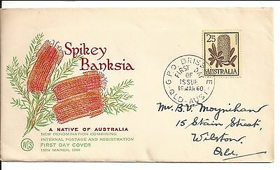 1960 Spikey Banksia A native of Australia FDC  2'5 stamp first day of issue