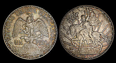 1910 Mexico Cry for Independence Silver Peso EF Toned Coin KM# 453