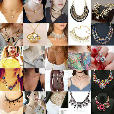 Women Fashion Charm Jewelry Choker Chunky Statement Bib Pendant Chain Necklace