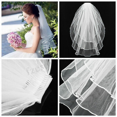 2016 Newest 3 Tier Wedding Bridal Elbow Short Length Satin Edge Veil With Comb