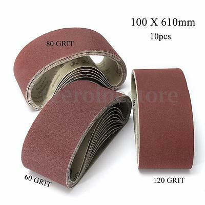 10pc Sanding Belts 100x610mm 60-120 Grit For Bosch Makita Black & Decker Sander