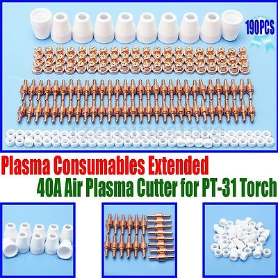 190PCS Air Plasma Cutting Cutter Torch Consumables Fit For PT-31 and LG-40 Torch