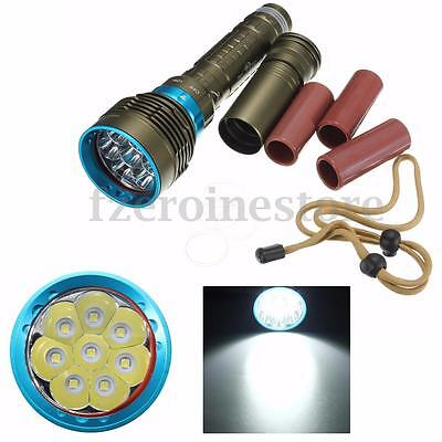 20000Lm 8x T6 LED Scuba Diving Flashlight Torch Lamp Waterproof Underwater 180M