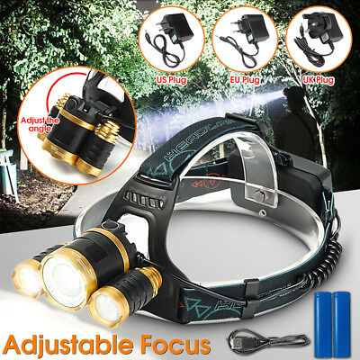 15000Lm 3x T6 LED Rechargeable Headlight Headlamp Head Lamp Torch 18650 Charger